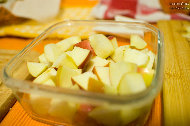 Bármilyen gyümölcsöt felvághatunk, pl almát is. Lehet friss vagy párolt zöldséget, friss vagy sült/főtt felvágottat is mártogatni.