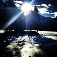 Back to home, bovec, Slovenia. The Predil lake is frozen