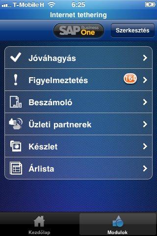 SAP Business One iPhone alkalmazás moduljai
