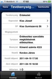 SAP Business One iPhone tevékenység részletek