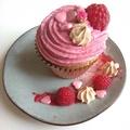 Málnás-rózsás cupcake