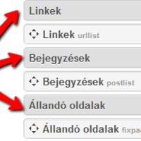 Linkek, Bejegyzések és Állandó oldalak oldaldobozok