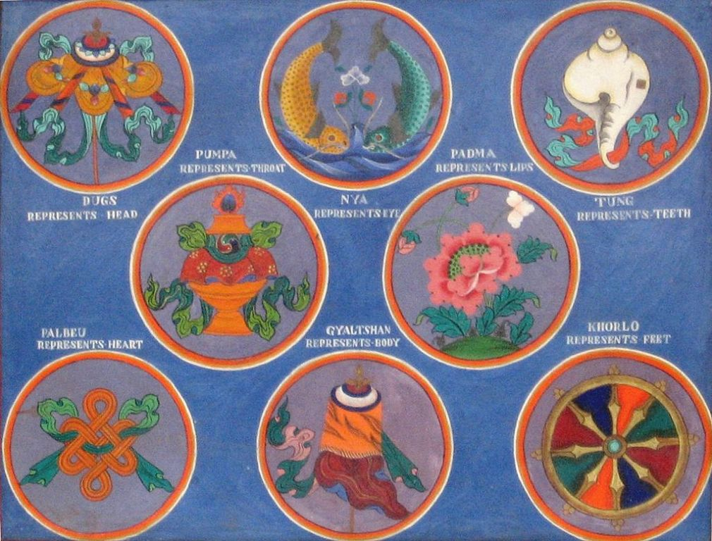 A tibeti nyolc szerencsejel (Ashtamangala),