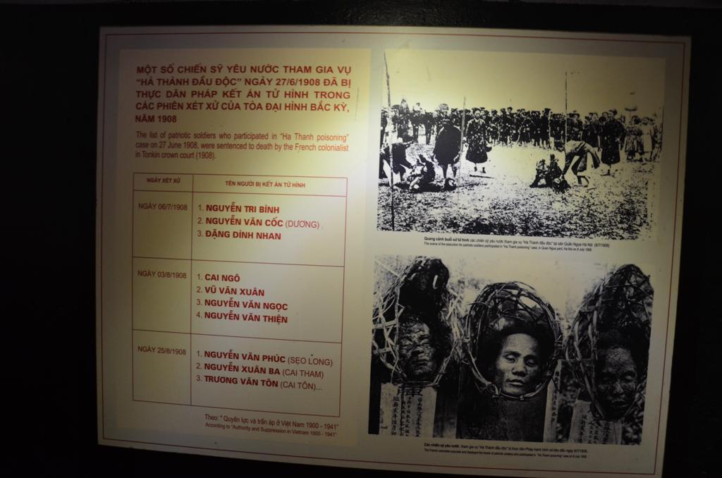 1908-ban  egy csoport vietnami oslakos megprobalta megmergezni a francia gyarmati hadsereg helyorseget a Hanoi Citadellaban.<br />Lelepleztek oket es 1908 junius 27 -en lefejeztek.
