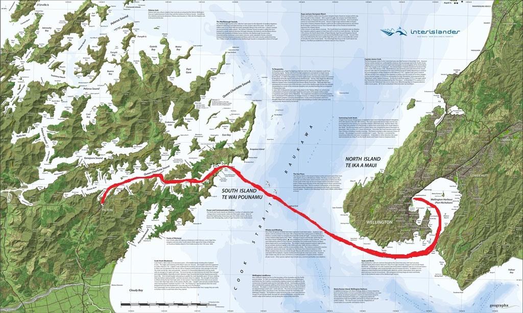 a komp utvonala Wellington es Picton kozott