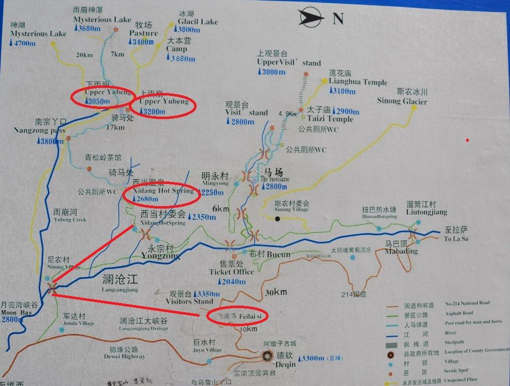 A terkepen bejeloltem Feilaisit, Xidangot es a ket Yubeng falut ( Upper Yubeng, Lower Yubeng).<br />Feilaisi es Xidang kozott csak 10 km a tavolsag, viszont nem lehet atvagni a hegyeken, igy a kerulovel megtett ut kb. masfel oras.<br />Xidang 2680 m magasan, Felso Yubeng 3200 m, mig az also 3050 m magassagban fekszik.