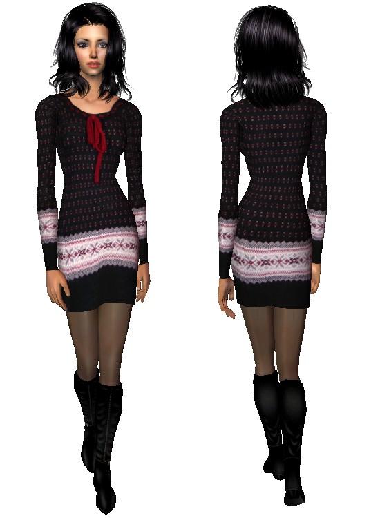 Fekete mintás kötött ruha - AF1204011940 - Sims 2 butik 4b86bf5473