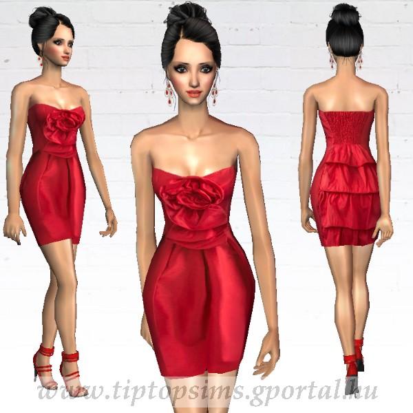 f61830c8f6 Piros pánt nélküli koktélruha AF1103061912 - Sims 2 butik