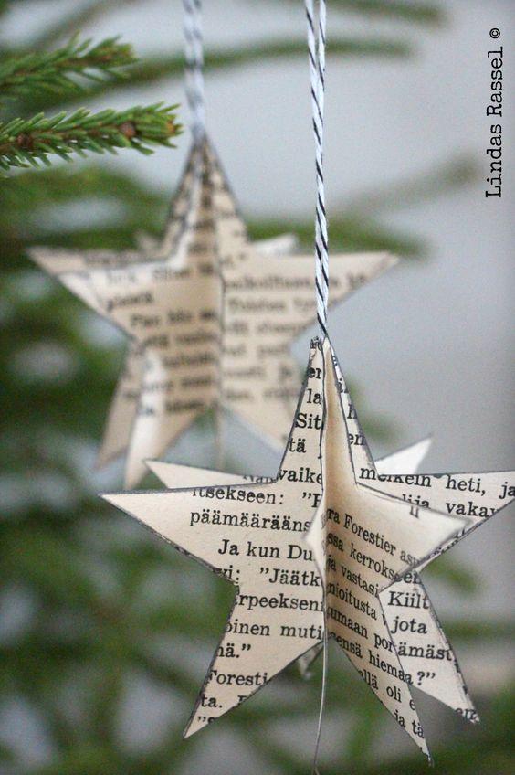 Régi könyv lapjait hasznosítsuk újra, készítsünk belőle csillagot.