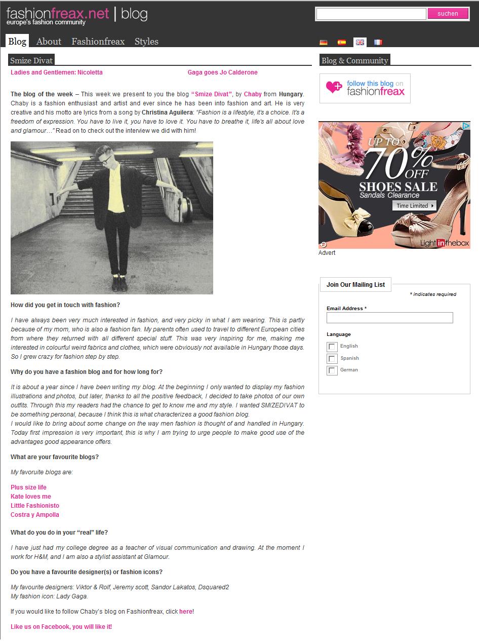 Smizedivat a hét blogja a Fashionfreax oldalon