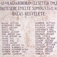 Hősi halottak névsora a somogyjádi I. világháborús emlékművön (Somogyjád, Kálvin János utca)