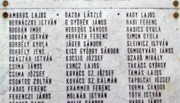 II. A II. világháború somogyjádi áldozatainak betűrendes névjegyzéke: