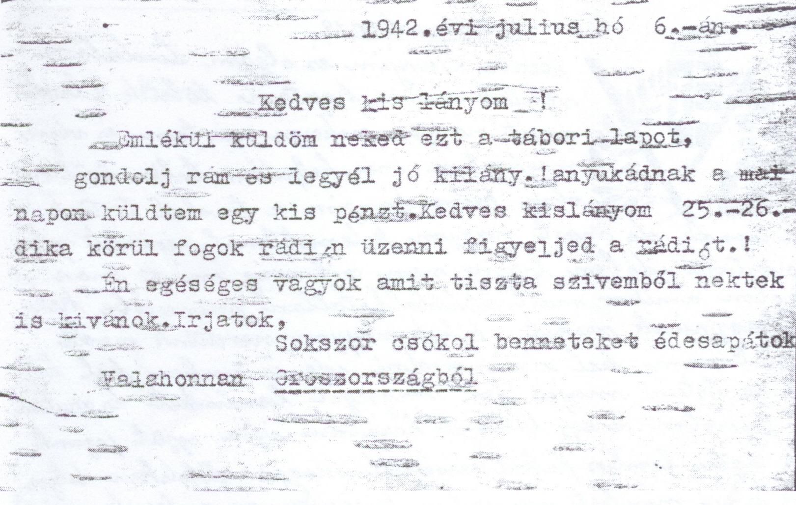 Gazda Sándor (nyírfakéregből készült) levelezőlapja lányának, Oroszországból, 1942 (2).jpg
