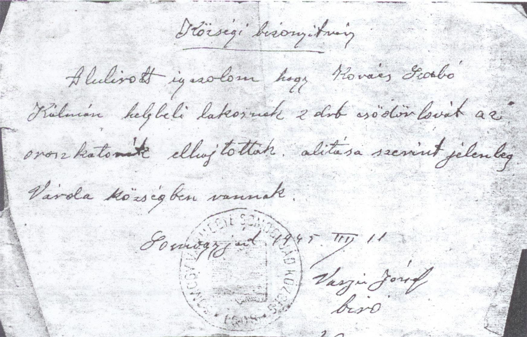 Községi bizonyítvány Kovács Szabó Kálmán családjának részére, 1945.jpg