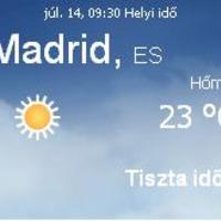 Spanyolország aktuális időjárás előrejelzés, 2010. július 14.
