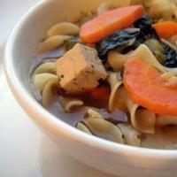 Lebbencsleves tofuval és spenóttal