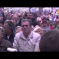Gotovina felmentését ünneplő zágrábiak