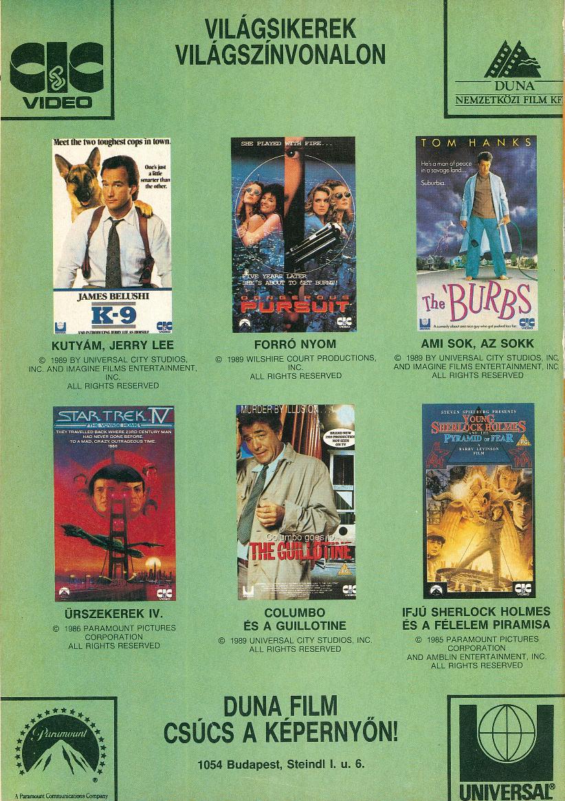 Duna Film videókazetta megjelenések.<br />1991 január<br />(Videó Magazin)