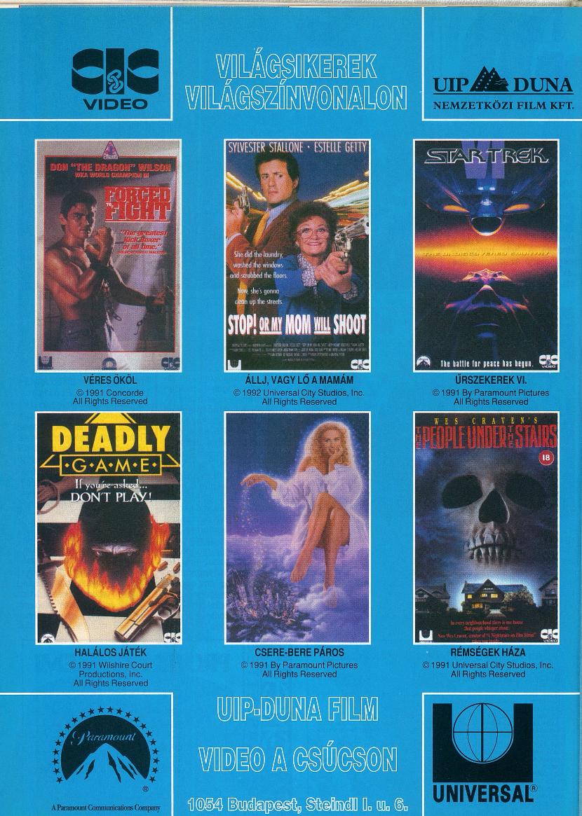 Duna Film videókazetta megjelenések.<br />1993 február<br />(Videó Magazin)