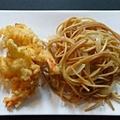Garnéla tempurában, pirított tésztával