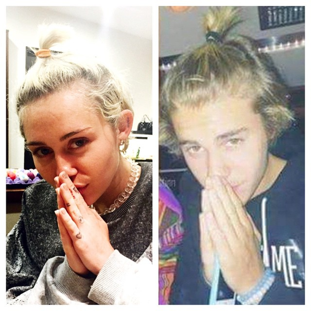 Miley Cyrus nagy mókamester: előszeretettel szórakozik más celebek kárára. Itt éppen Justin Bieber a poén áldozata.