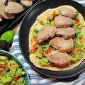Guacamole kukoricatortilla-val, szűzpecsenyével