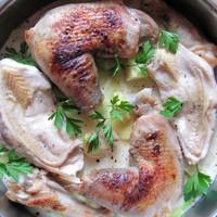 Almaboros csirke édesburgonyával, póréval