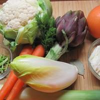 Vacsora téli zöldségekből kapros juhtúrómousse-szal, grépfrútszósszal