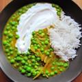 Ütős fűszeres curry zöldborsóból földimogyoróval