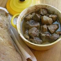 Lassan párolt mangalica mustárral, Worcestershire szósszal