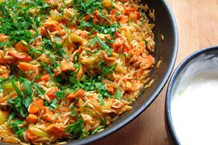 Gévagombás rizs paella módjára