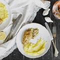 Citromos-fokhagymás-rozmaringos csirke laskagombás póréhagyma mártással és krumplipürével