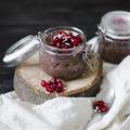 Kakaós-kókuszos (szója)tejberizs lime-mal és gránátalma maggal