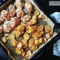 Mozzarellás paradicsomos csirke vele sült burgonyával