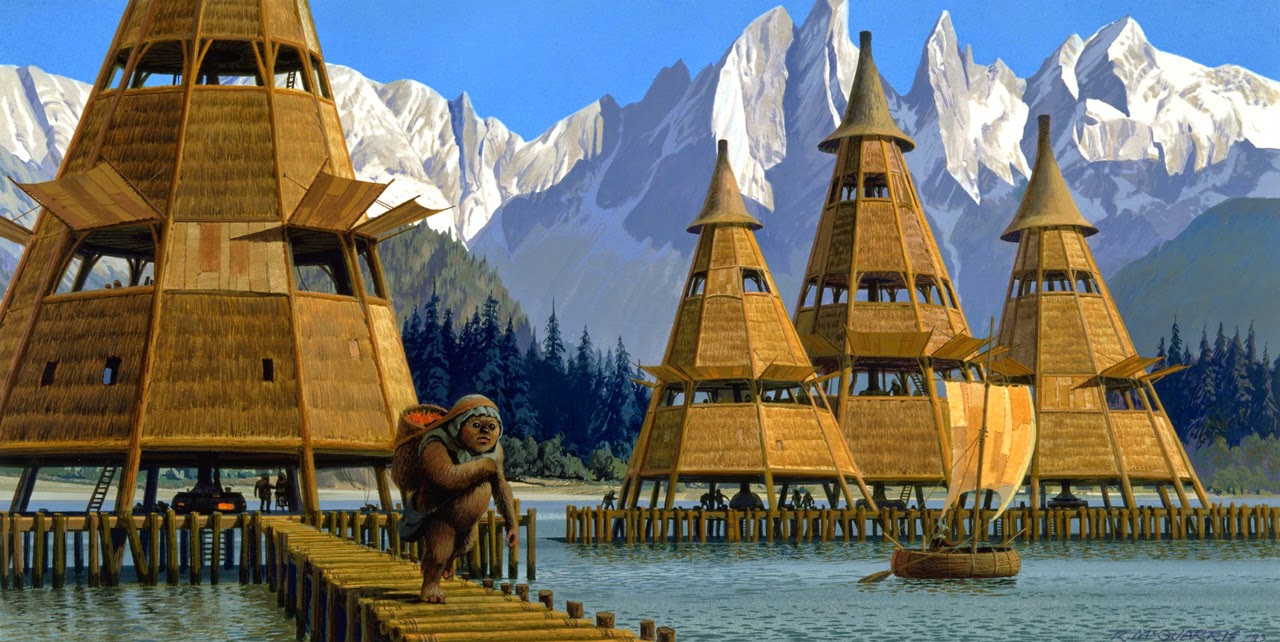 Az Endor rajzolt falujára a filmekben inkább a wookie planétáé, a Kashyyyké hajaz.