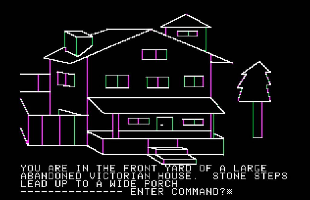 A Mystery House kezdőképernyője. 1980/Apple II/ On-Line Systems
