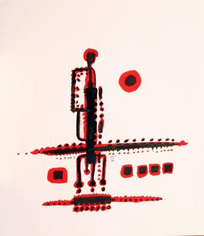 35x40 cm, papír, tus, 1995