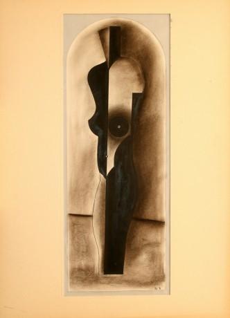 Múzsa, 50x70 cm, papír, pittkréta, tus, 1994