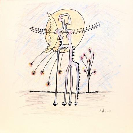 20x20 cm, papír, színes ceruza, tus, 2003