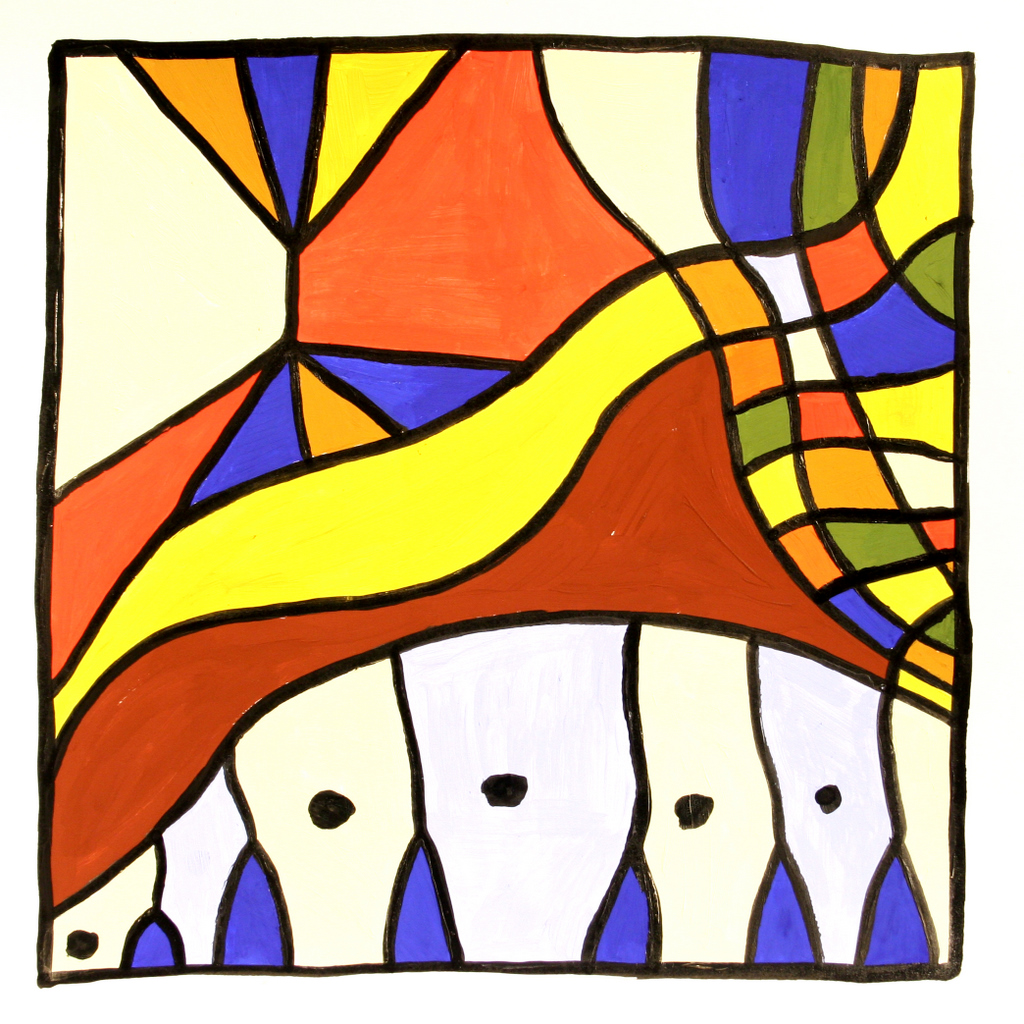 60x60 cm, papír, akril, tus, 2003