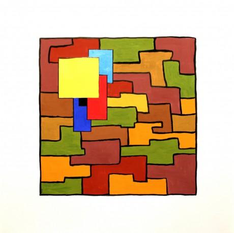 70x70 cm, papír, akril, kollázs, 2002