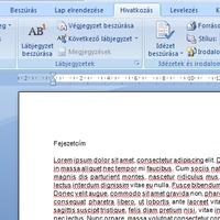 Tartalomjegyzék készítés Word dokumentumban