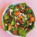 Spenótos-lencsés sültzöldség saláta