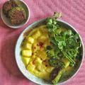 Currys-kókuszos krumplifőzelék, borsófasírttal