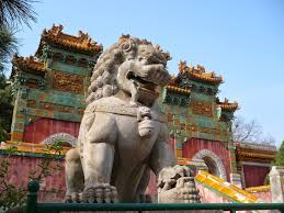 A rezidencia melletti, Tibet inspirálta Putuo Zongcheng templom oroszlánja