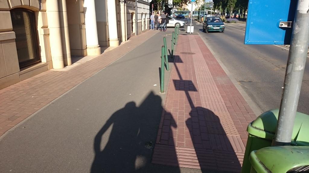 Kálvária sgt-on súlyos koncepcionális hibák miatt szintén a járdára tették a bicikliseket. Csak hát sajnos 80 centi járda maradt csak az egyetem gazdasági karának főbejáratánál. A város kb. naponta variálta itt a forgalmi rendet, aztán végül osztatlan gyalog- és kerékpárút lett, hogy a közlekedők ki tudják egymást kerülni. A városüzemeltetés viszont nem érte be ennyivel, poller-oszlopokat állított végig az egésznek majdnem a közepébe. Így mégsem lehet kerülni. A jókora biciklis balesetek nyomát jelzi, hogy a karók egy része hiányzik. A bénázásról az újság is írt.<br /><br />http://www.delmagyar.hu/szeged_hirek/nem_jarda_kozos_ut/2189780/