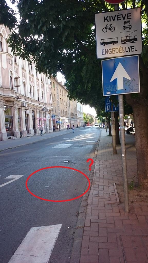 A sárga festékkel a gazzal benőtt bicikliutakon bőkezűen bánó városüzemeltetés a buszok, trolik és biciklisek által használt úton nem hajlandó a biciklis piktogramokat újrafesteni. A mérnök oda tervezte, föl is festették, aztán lekopott, és az útkezelő nem hajlandó újrafesteni. Mindennaposak a konfliktusok a buszvezetők és a biciklizők között, ez köztudomású, ennek ellenére sem festik újra. <br /><br />A bajai úton a gaz szélén bezzeg:<br />https://get.google.com/albumarchive/105978702761809347158/album/AF1QipMA5w4CvgvrM0GMmGgA6ty6nyKfnJ6dL_nTSnks/AF1QipM6xpRTlHadGt015s80mjgMSbKTscjuPEUvo1JQ