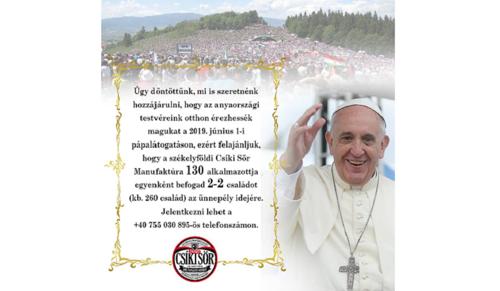 Így támogatja a Csíki Sör Ferenc pápa erdélyi látogatását