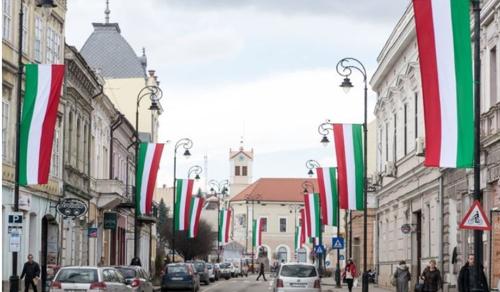 """Román zászló a """"magyar megszállás alóli felszabadítása"""