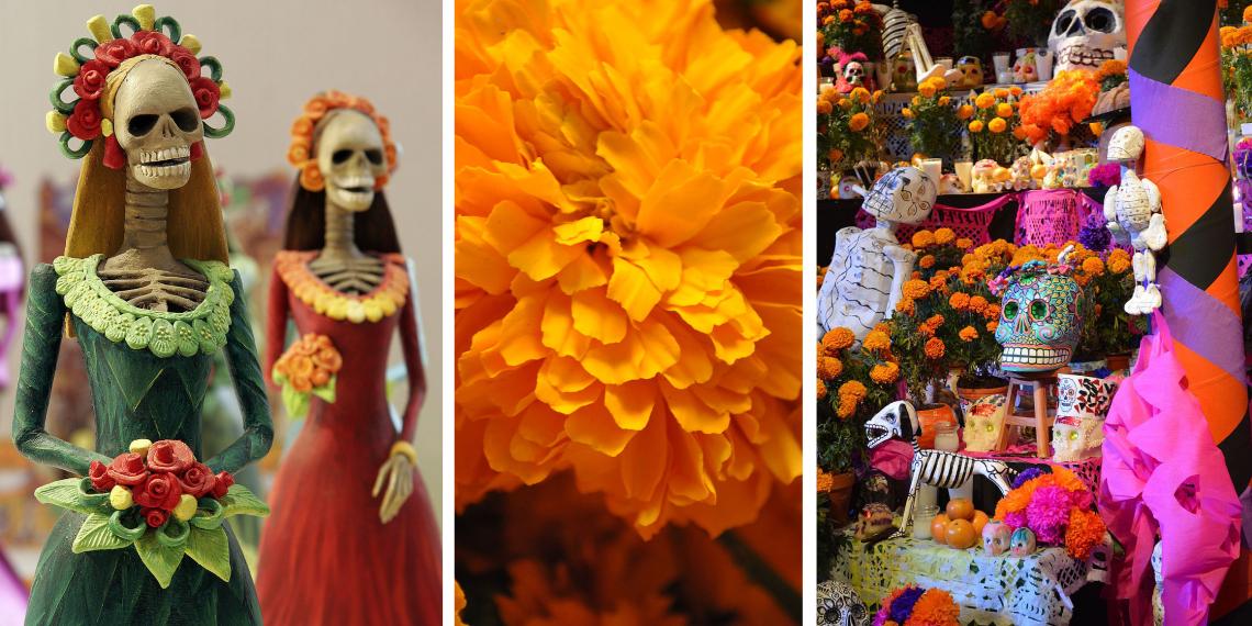 MEXIKÓ<br />A magánoltárokat úgy készítik elő, hogy képeket tesznek ki az elhunyt szeretteikről, cukorkoponyákkal és élénk színű virágokkal díszítve azokat.
